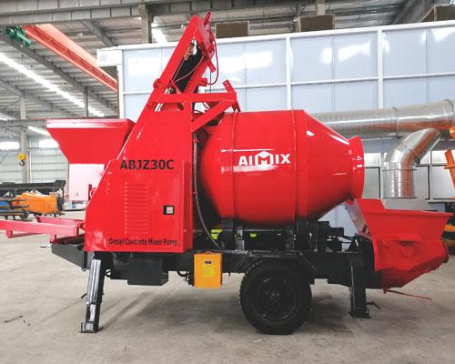 hopper type concrete mixer with pumps
